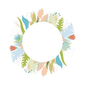 Векторная иллюстрация цветочного дизайна шаблона поздравительной открытки с местом для вашего текста. джунгли растение