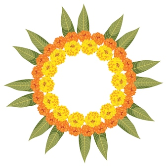 マリーゴールドまたはzenduまたはgendaの花とマンゴーの葉を使用して作られた花ランゴーリーのベクトルイラスト