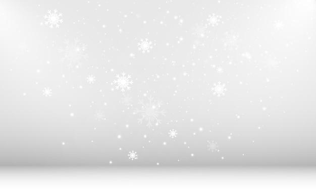 透明な背景に飛んでいる雪のベクトル図降雪またはブリの自然現象