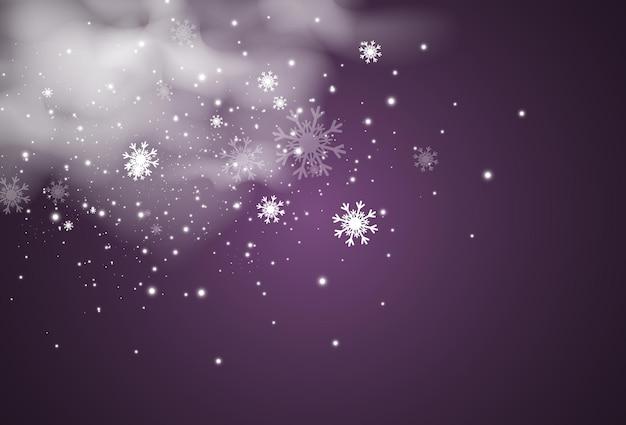 透明な背景に飛んでいる雪のベクトル図降雪の自然現象
