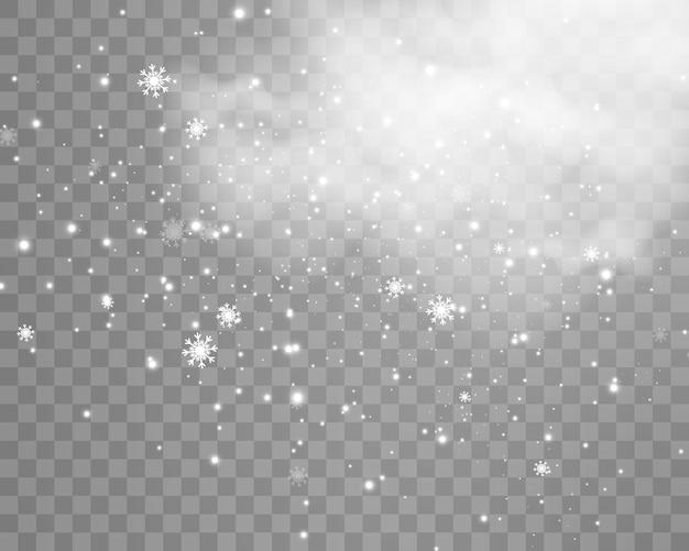 Векторная иллюстрация летающего снега на прозрачном фоне.