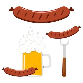 Векторная иллюстрация пищевой плоский дизайн набор колбаса, колбаса на вилке, колбаса с бокалом пива значок, изолированные на белом фоне.