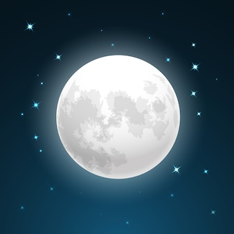 Векторная иллюстрация полной луны крупным планом и вокруг звезд
