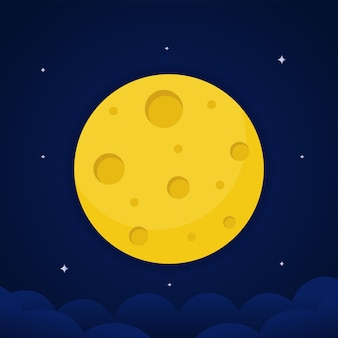 満月のベクトルイラストのクローズアップと星の周り