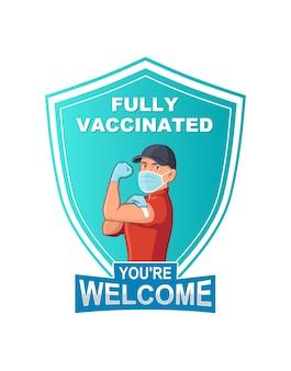 完全にワクチン接種された労働者のベクトル図