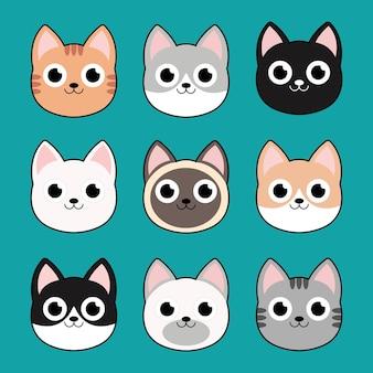 재미있는 만화 고양이의 벡터 삽화, 고양이 머리 이모티콘 모음. eps 10 벡터입니다.