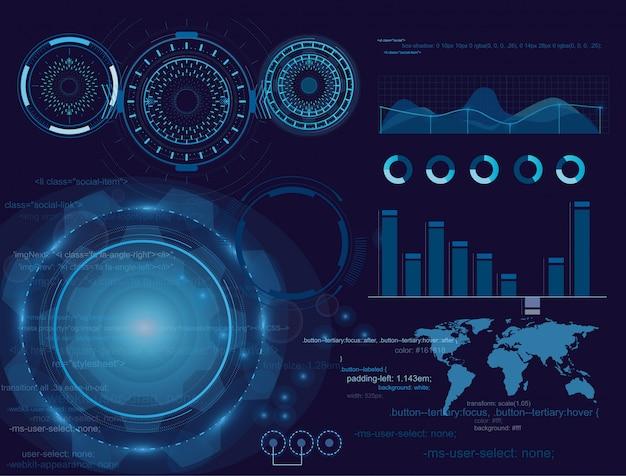 Vector иллюстрация футуристического дисплея, дизайн интерфейса hud, infographic, диаграмма или волны сканирования, предупреждающая стрелка и регулятор бара. техника и наука, анализ темы.