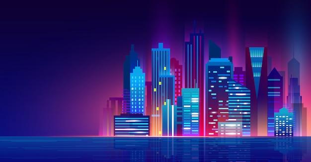 Векторная иллюстрация футуристический ночной город с неоновыми огнями. городской пейзаж над водой, красивый ночной современный город, огни города.