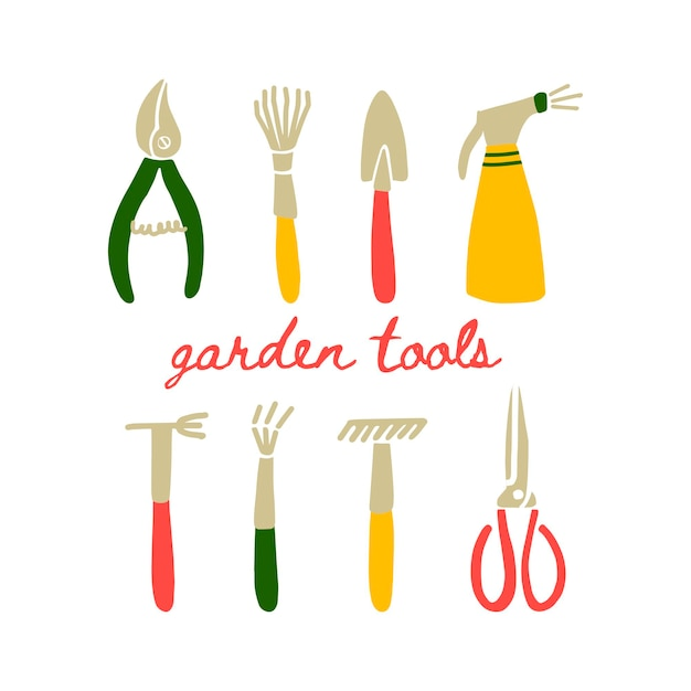 낙서 스타일의 정원 도구의 벡터 그림입니다. 흰색 배경에 격리된 정원 기호 세트 - 분무기, 양동이, pruners, 삽, 갈퀴. 엽서, 포스터 및 웹사이트 디자인