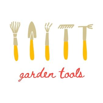 낙서 스타일의 정원 도구의 벡터 그림입니다. 정원 기호 세트 - 갈퀴, 삽, 리퍼. 엽서, 포스터 및 웹사이트 디자인