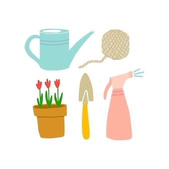 낙서 스타일의 정원 도구의 벡터 그림입니다. 정원 기호, 사물, 개체의 집합입니다. 엽서, 포스터 및 웹사이트 디자인