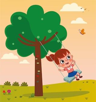 Векторная иллюстрация девушки качается на качелях на дереве