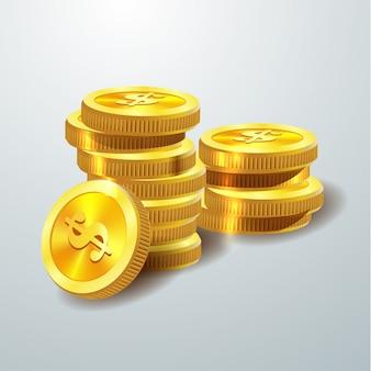 Векторная иллюстрация золотых монет.
