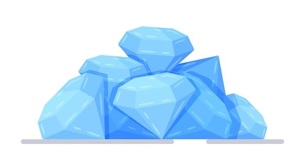그래픽 디자인의 벡터 일러스트 레이 션. 보석 더미입니다. 부의 상징입니다. 블루 반짝이 다이아몬드. 비싼 보석의 개념입니다.