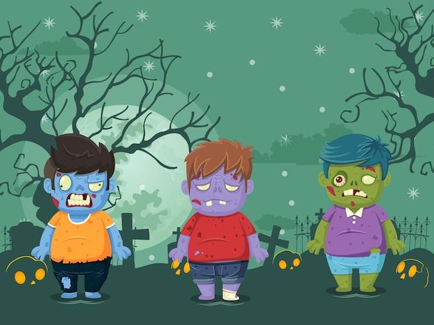 Векторная иллюстрация хэллоуина на фоне лунной ночи с зомби. иллюстрация, используемая для дизайна детских и детских праздников, открыток, баннеров