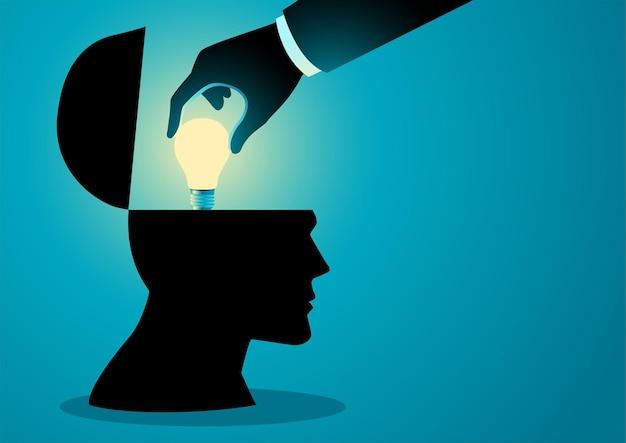 人間の頭に電球をインストールする手のベクトル図