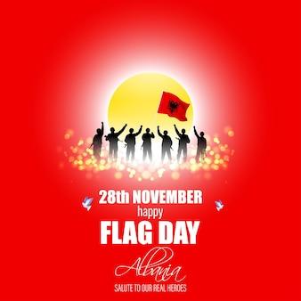 幸せなアルバニアの旗の日の愛国的なバナーのベクトル図