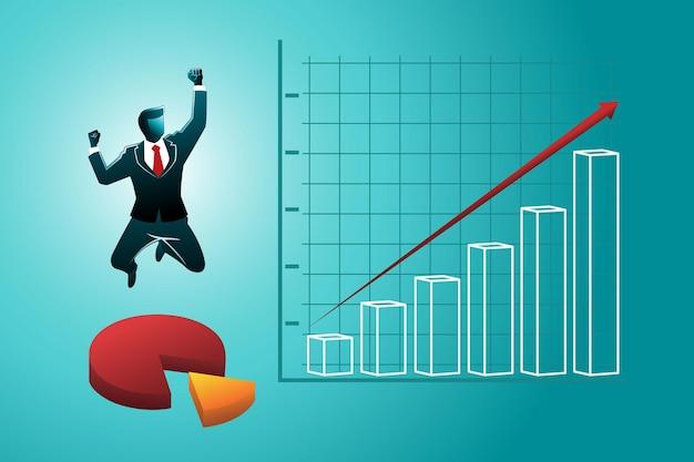 Векторная иллюстрация счастливого бизнесмена на круговой диаграмме прыгает с диаграммой роста