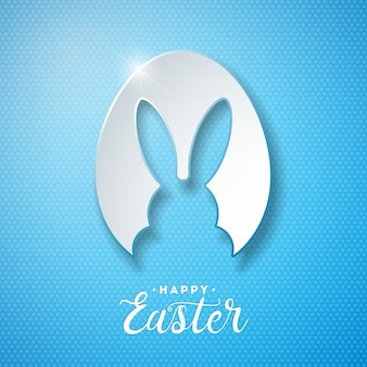 Vector Illustration of Happy Easter Holiday with Rabbit Ears