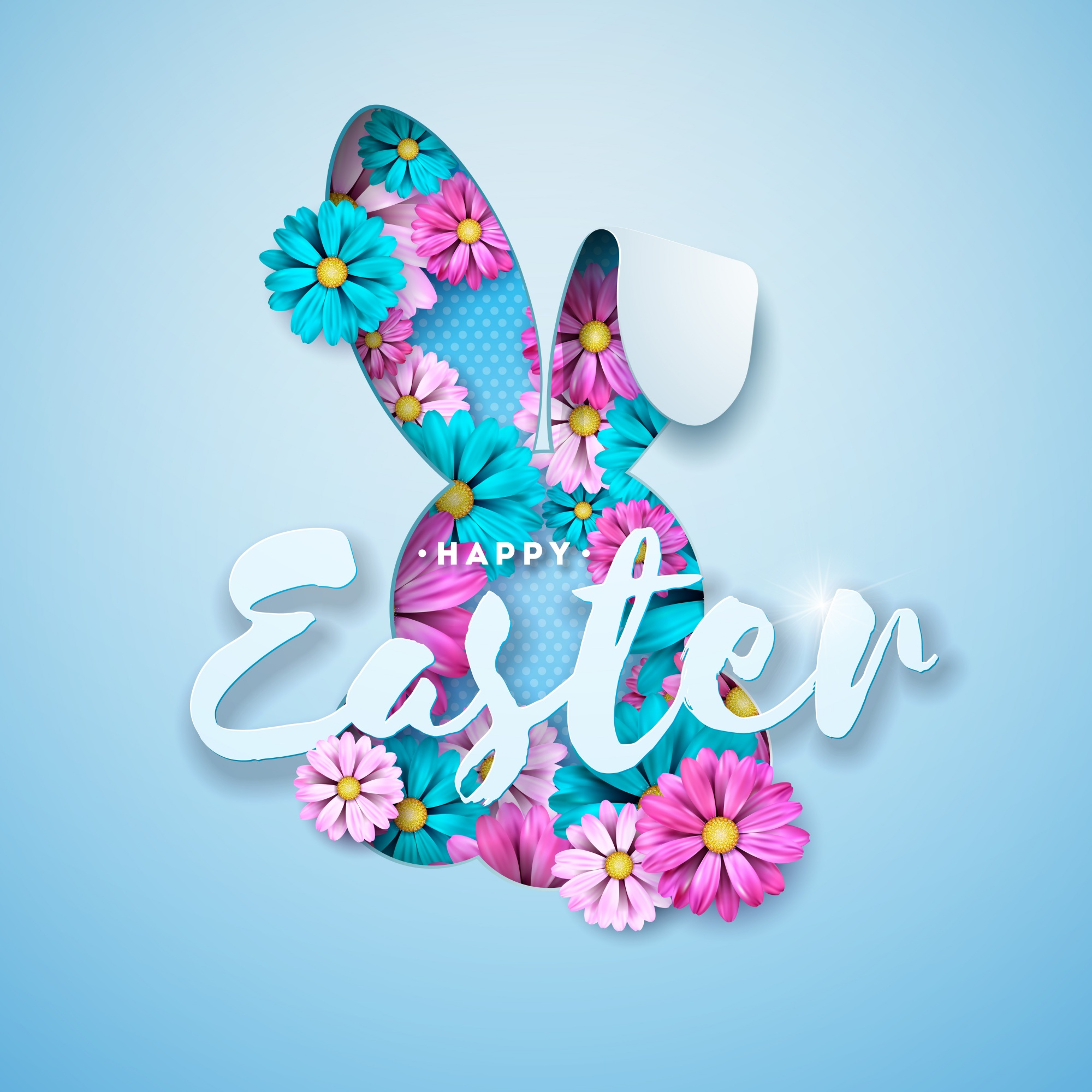 Vector Illustration of Happy Easter Holiday with Spring Flowers