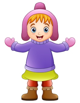 冬の服で幸せな女の子のベクトル図