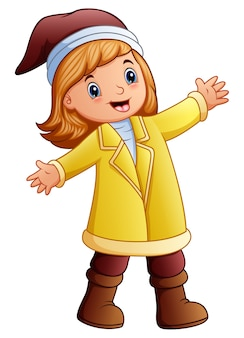 Vector illustration of Happy girl in yellow winter clothes