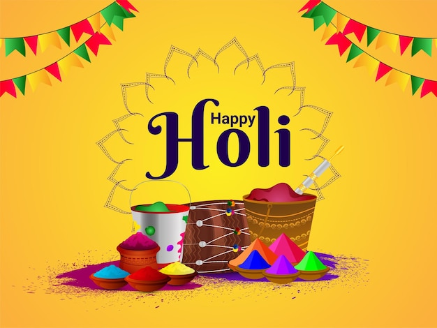 幸せなホーリー祭の色の泥の鍋のベクトル図