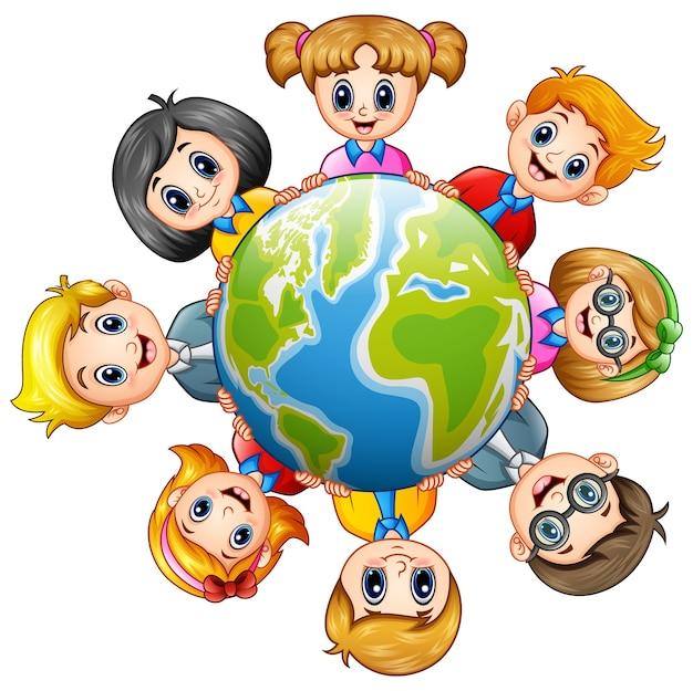 地球の周りのハッピーキッズのベクトル図