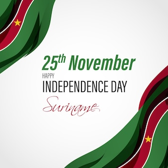 幸せなスリナム独立記念日の愛国的なバナーのベクトル図