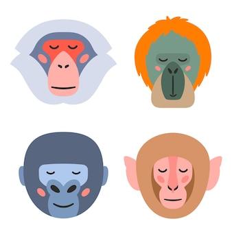 흰색 배경에 눈을 감고 있는 다양한 종류의 원숭이 머리에 대한 벡터 그림