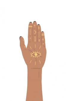 헤나 신비한 마법의 손, 달 및 기하학적 개체의 벡터 일러스트 레이 션. 아즈텍 스타일, 부족 예술, 민족 디자인 절연
