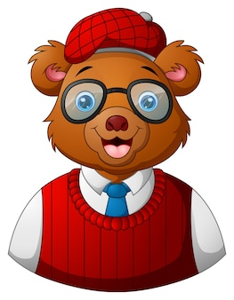 Векторная иллюстрация hipster медведя одетые и очки