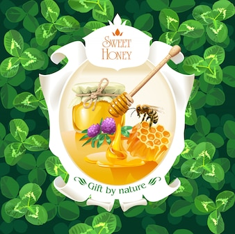Vector illustration of honey in frame on background clover