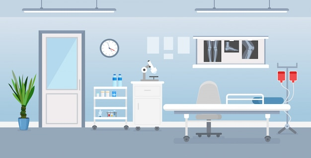 医療用具、ベッド、テーブルと病室インテリアのベクトルイラスト。フラットな漫画のスタイルで病院の部屋。