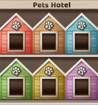 ペットのためのホテルのベクトルイラスト、背景に分離された色付きの犬小屋