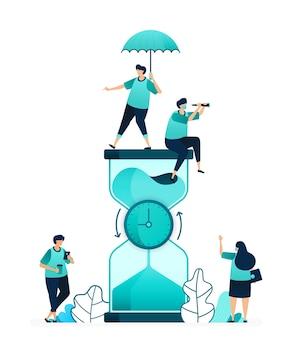 カウントダウンするために中央で回転する時計と砂時計のベクトルイラスト。制限時間と作業性を測定します。女性と男性の労働者。ウェブサイト、ウェブ、ランディングページ、アプリ、ポスターチラシ用に設計されています