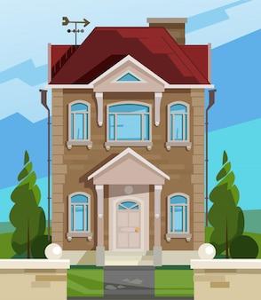 Векторная иллюстрация дома. английский фасад дома.