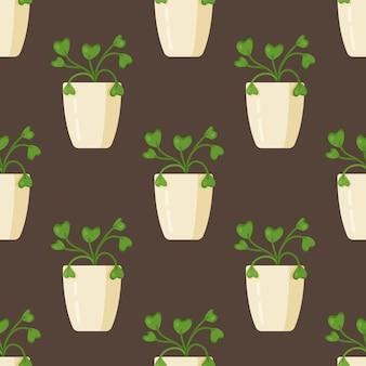 観葉植物のパターンのベクトルイラスト。茶色の背景に白い花瓶に観葉植物のシームレスな描画。美しい部屋のツタ。