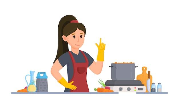 主婦のベクトルイラスト。台所でスープを作っている女の子。家での食事。料理の女性。白い背景の上のキッチンで調理する女の子の概念。
