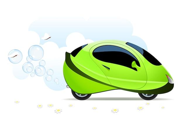 Векторная иллюстрация концепции водородного автомобиля на белом