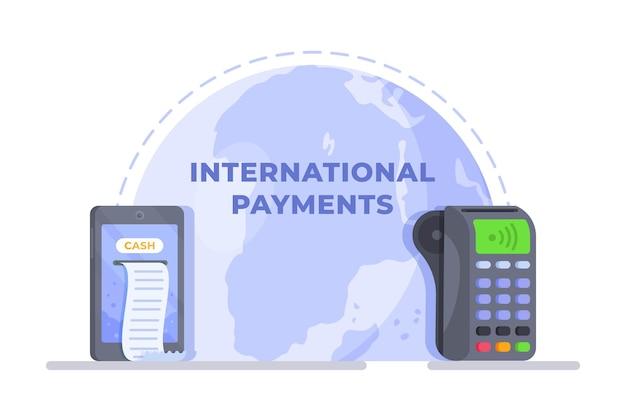 世界中の支払いのための国際的な支払いの概念のベクトル図