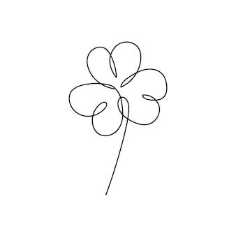 聖パトリックの日のアイルランドのシンボルのベクトルイラスト。シャムロックの葉の連続線画。ミニマリズムの白黒デザイン