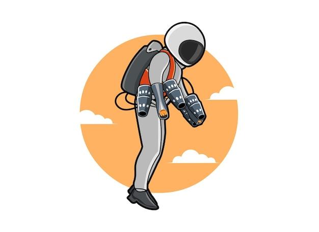 ジェットスーツまたはフライトパック、新しい発明のベクトル図