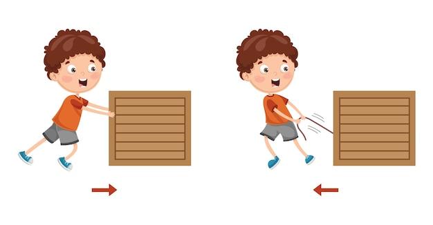 Векторная иллюстрация kid pushing и pulling