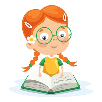 Vector Illustration Of Kid Reading