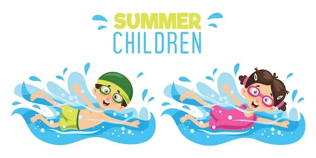 Векторная иллюстрация детского плавания