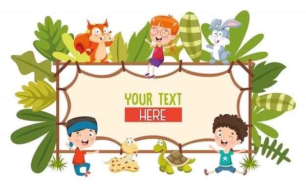 子供と動物のベクトル図