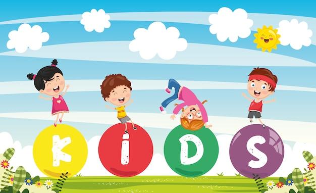 子供たちのカラフルな風景のベクトル図