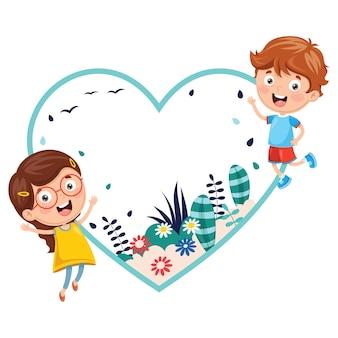 Векторная иллюстрация детей, держащих весенний баннер