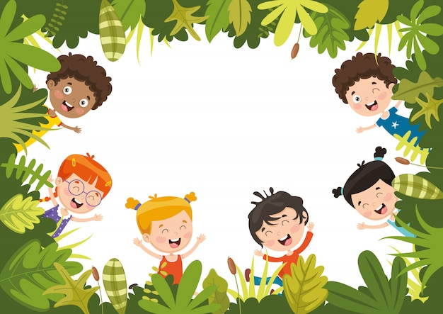 子供の自然のベクトル図